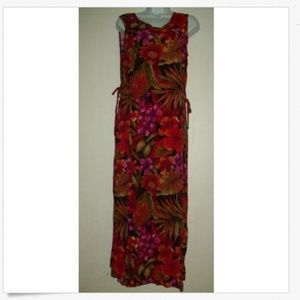 Bright Red Purple Floral Sleeveless Rayon Maxi